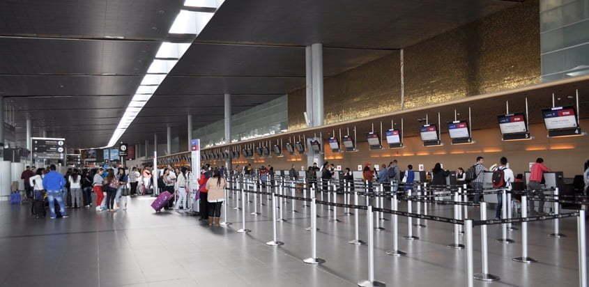 Vista del área de check in del Aeropuerto Internacional Eldorado de Bogotá.
