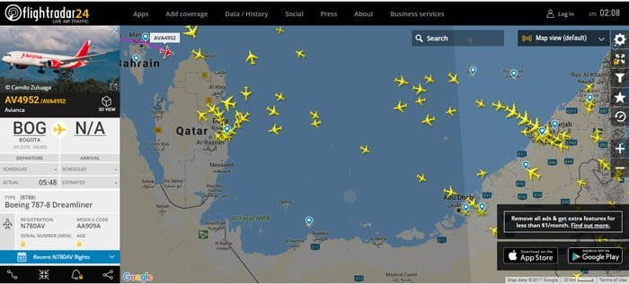 AV4952 pasando por Baréin hacia Catar - Flightrada24