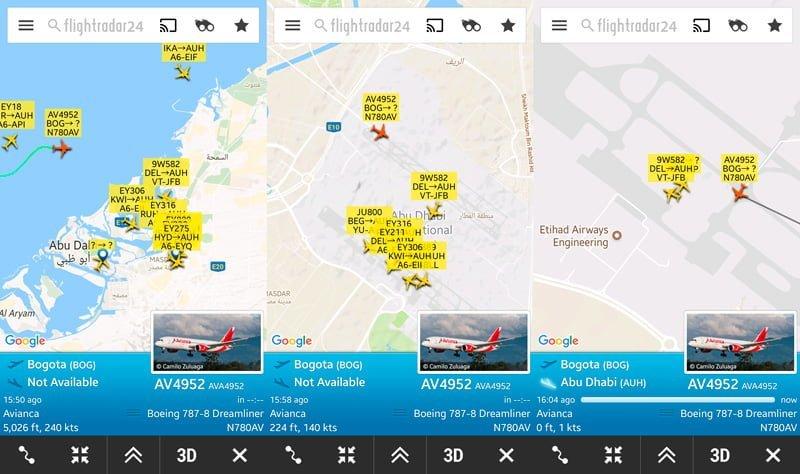 Aproximación, aterrizaje y llegada al MRO de Etihad Airways.