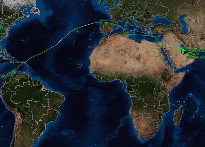 Mapa del vuelo desde Bogotá a Abu Dabi - Flightaware