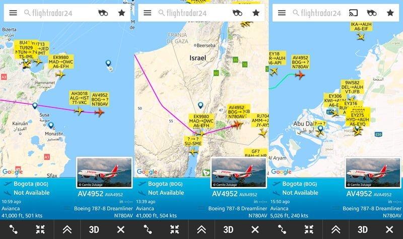 Paso por Túnez, Egipto y llegada a Abu Dabi - Flightradar24.