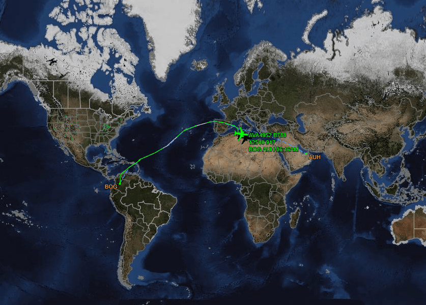 Mapa completo del vuelo AV4952 de Bogotá a Abu Dabi - Flightaware.