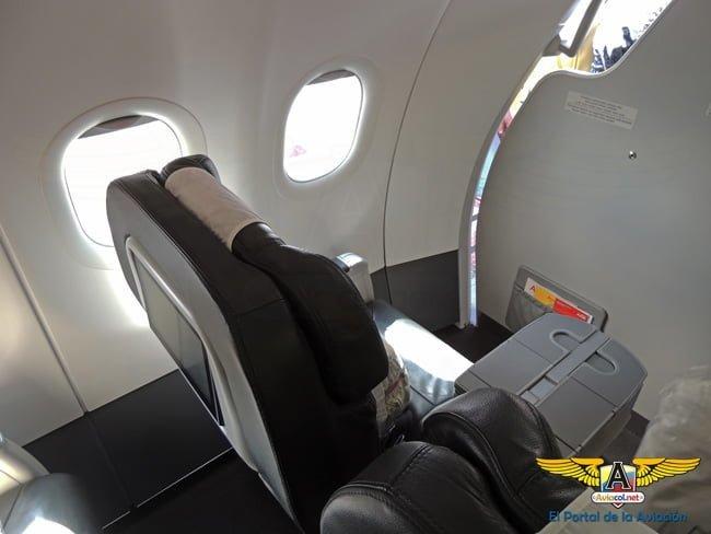 Silla del Airbus A320 de Avianca donde se transportó el Papa Francisco en Colombia.