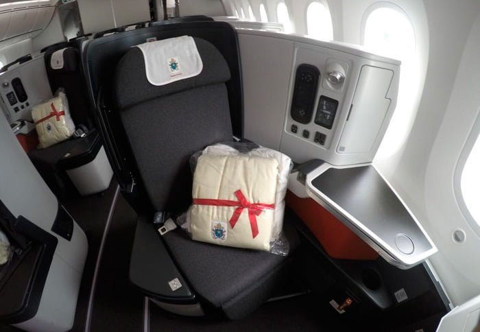 Silla asignada al Papa Francisco en el Boeing 787 de Avianca en su regreso a Roma.