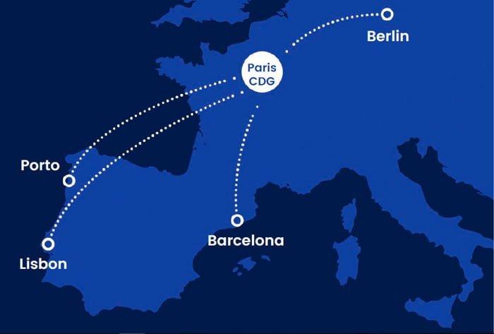 Destinos iniciales de Joon en Europa.