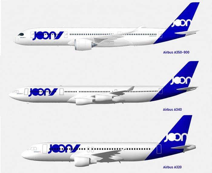 Flota Airbus de la aerolínea Joon.