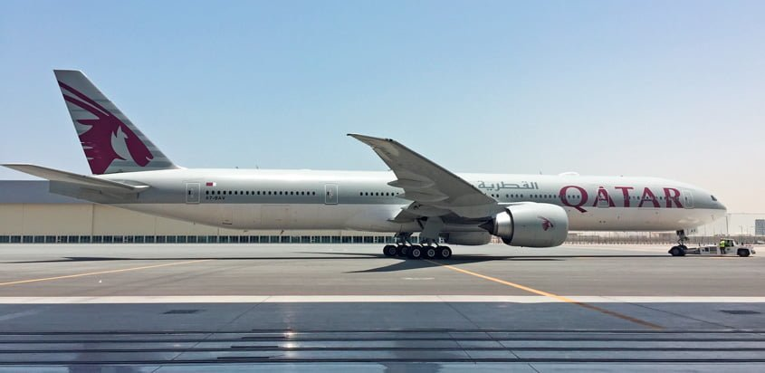 Boeing 777-300ER de Qatar Airways equipado con GX Aviation.