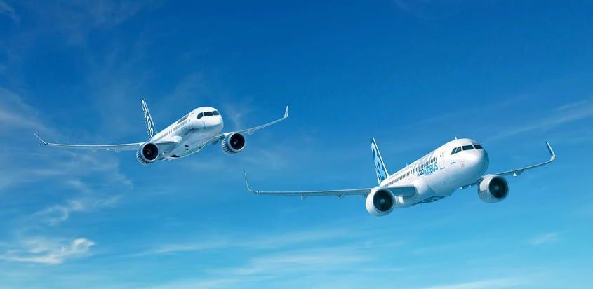 Bombardier CS300 y Airbus A320neo.
