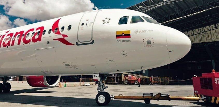 Airbus A321neo de Avianca en el hangar de la compañía.