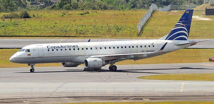 Embraer E190 de Copa Airlines como el que vuela a Bucaramanga desde Panamá.