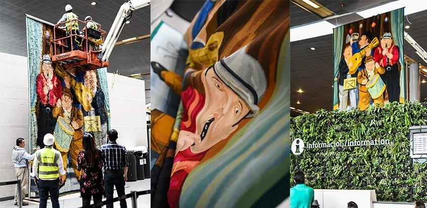"""Obra de Botero """"Los músicos"""", en el Aeropuerto Eldorado de Bogotá."""