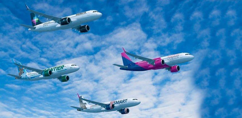 Airbus de Volaris, Wizz Air, Frontier, JetSmart e Indigo