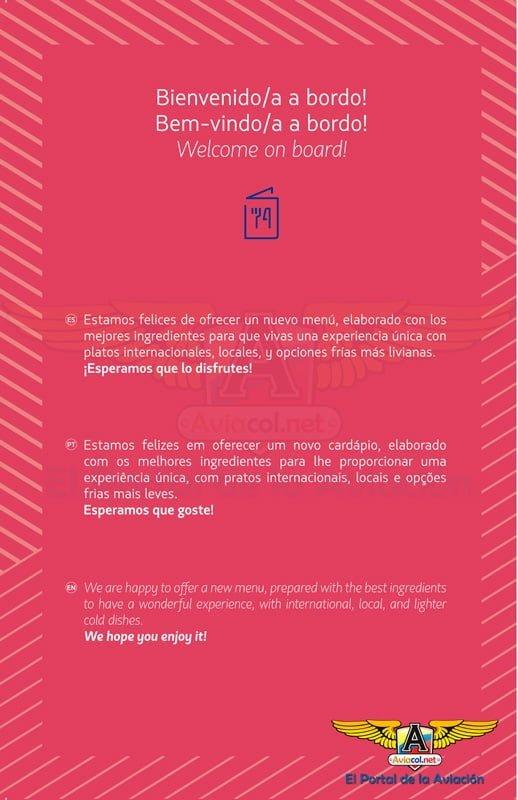 Menú a bordo de LATAM Airlines para vuelos originados en Chile.