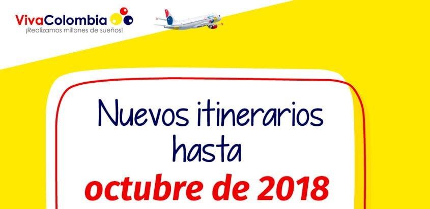 Itinerarios hasta Octubre de 2018 de VivaColombia.