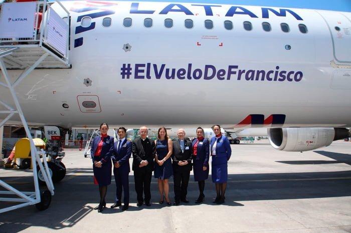 Presentación del Airbus A321 de LATAM Airlines que transportará al Papa Francisco en su visita a Chile y Perú.