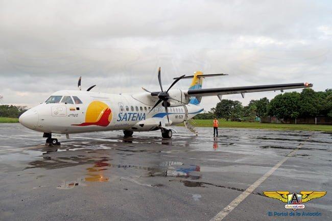 ATR 42-600 de SATENA, en el Aeropuerto Eduardo Falla de San Vicente del Caguán.