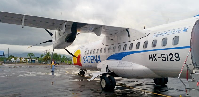 ATR 42-600 de SATENA en el Aeropuerto Eduardo Falla de San Vicente del Caguán.
