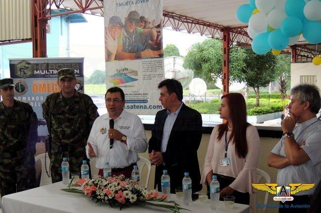 Bienvenida al vuelo de SATENA por parte del Alcalde San Vicente del Caguán.