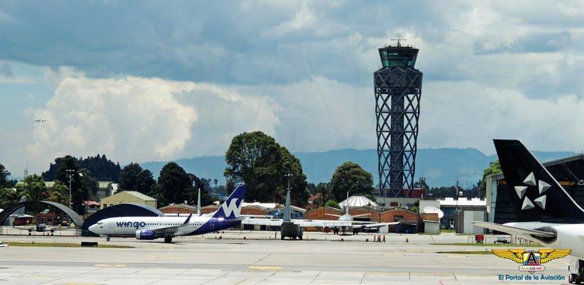 Vista de la plataforma del Aeropuerto Internacional Eldorado de Bogotá.