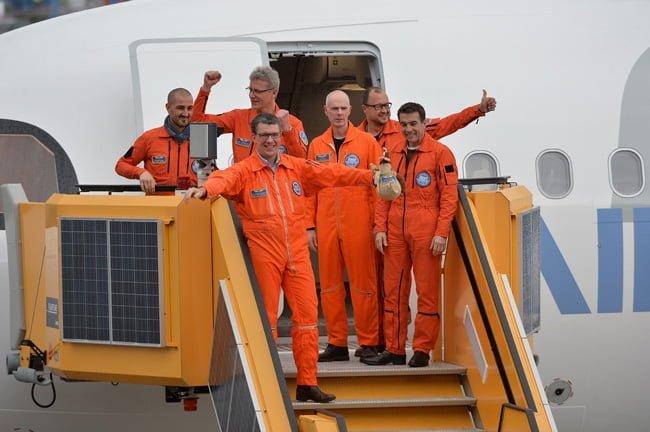 Tripulación a cargo del primer vuelo del Airbus A321LR.