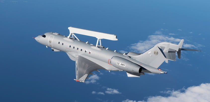 GlobalEye de Saab en su primer vuelo.