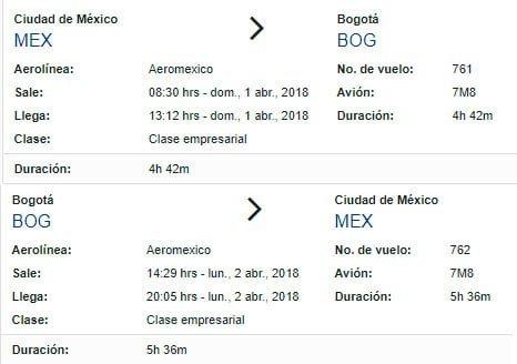 Itinerario del B737 MAX de AeroMéxico a Bogotá.