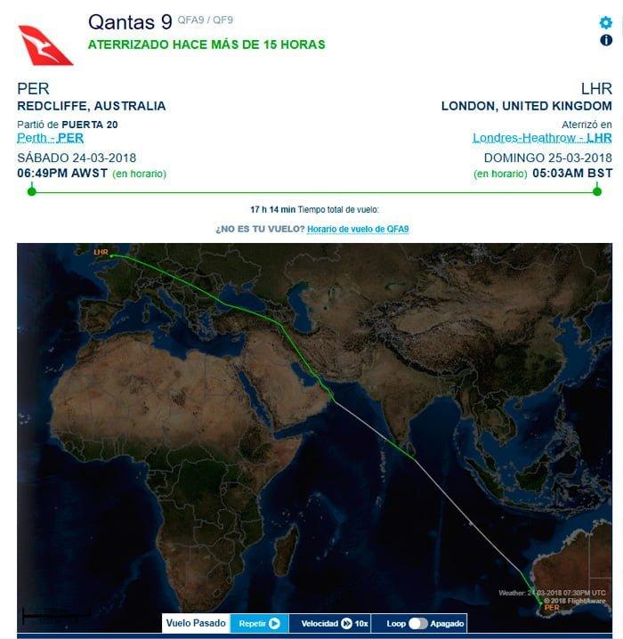 Recorrido del vuelo QF9 entre Perth y Londres de Qantas.