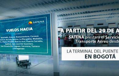 Infografía de SATENA con el traslado de su operación al Terminal Puente Aéreo.