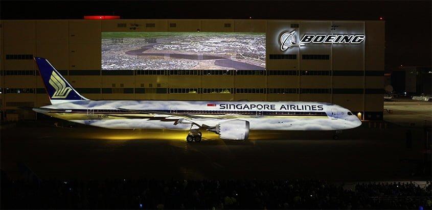 Ceremonia de entrega del primer Boeing 787-10 para Singapore Airlines.