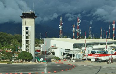 Vista aérea del Aeropuerto Internacional Palonegro de Bucaramanga.