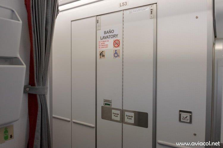 Baño para discapacitados del nuevo Airbus A330-300 de Avianca.