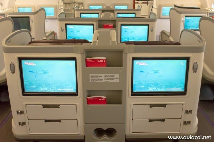 Cabina de Clase Ejecutiva del nuevo Airbus A330-300 de Avianca.