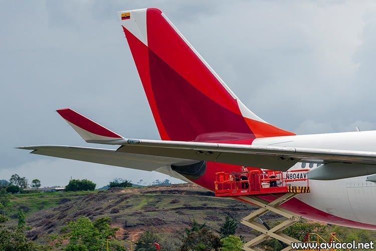 Empenaje del nuevo Airbus A330-300 de Avianca.