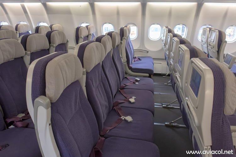 Fila de Clase Económica del nuevo Airbus A330-300 de Avianca.