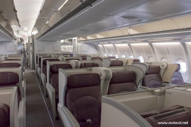 Interior del Nuevo Airbus A330-300 de Avianca.