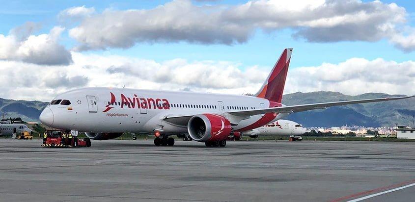 Boeing 787-8 de Avianca que transportará a la Selección Colombia.