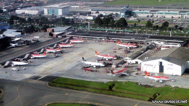 Vista aérea del Puente Aéreo de Avianca en 2014.