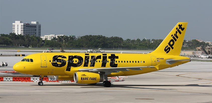 Airbus A319 de Spirit Airlines en rodaje.