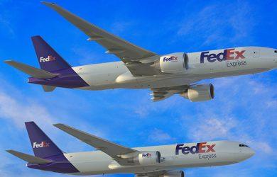 Boeing 767F y Boeing 777F de FedEx.