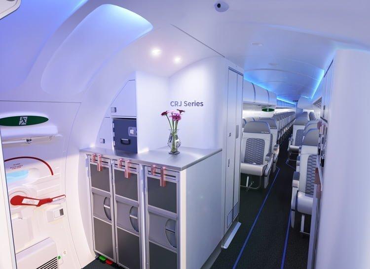 """Nuevo concepto de cabina """"Atmosphère"""" de Bombardier para la serie CRJ."""