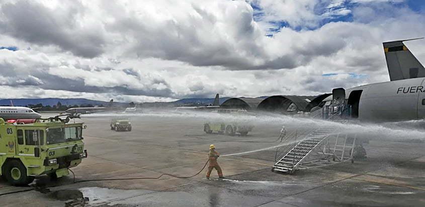 Simulacro de accidente aéreo en CATAM.