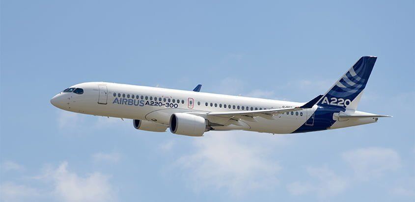 Lanzamiento del Airbus A220 en Toulouse, Francia.