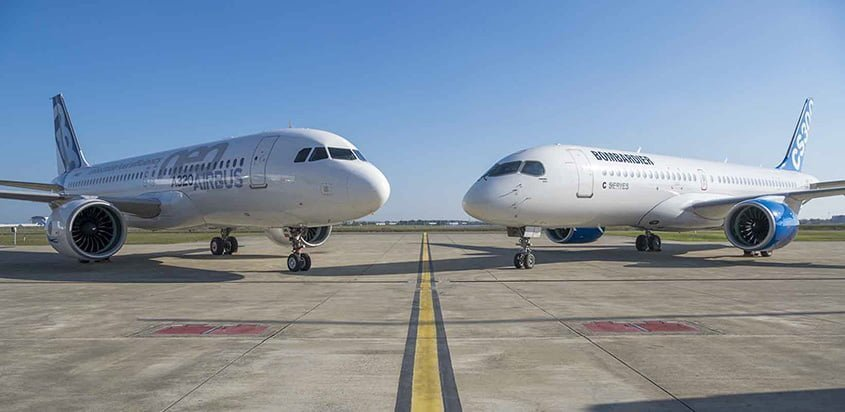 Airbus A320neo y Bombardier C Series 300.