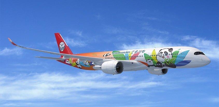 Prototipo de un Airbus A350 de Sichuan Airlines.