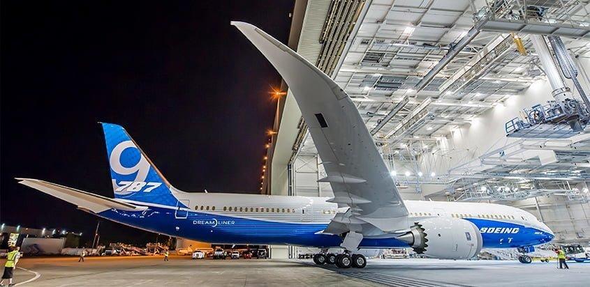 Boeing 787-9 en su presentación oficial.
