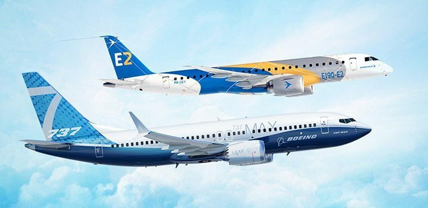 Embraer E2 y Boeing 737 MAX.
