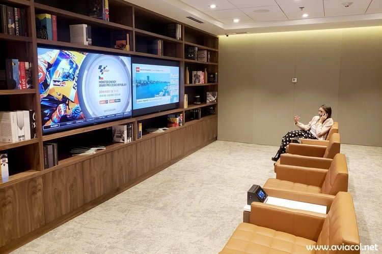 Sala de Televisión del Copa Club, de Copa Airlines, en Bogotá.