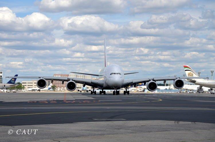 Airbus A380 de Lufthansa en Frankfurt.