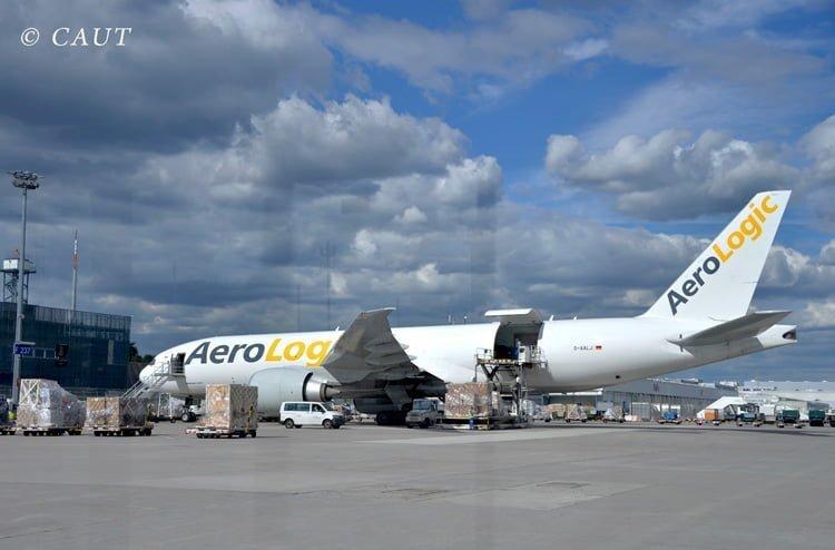 Boeing 777F de AeroLogic en Frankfurt.