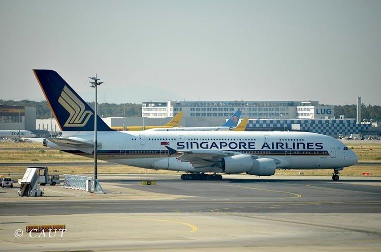 Airbus A380 de Singapore Airlines en Frankfurt.
